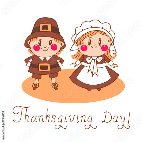 Thanksgiving Day children Pilgrim Couple.
