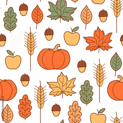 Seamless pattern with pumpkins, leaves, wheat and apples.