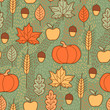 Seamless pattern with pumpkins, leaves, wheat and apples