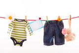 baby clothing on clothespin