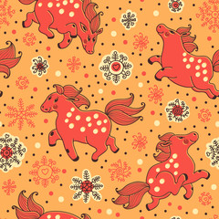 Seamless pattern with horses and snowfall in cartoon style