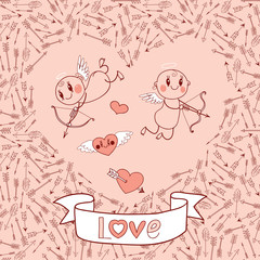 Weddings and Valentine's Day card with cute cupids, arrows