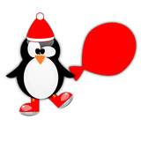 Penguin santa claus with ice skates