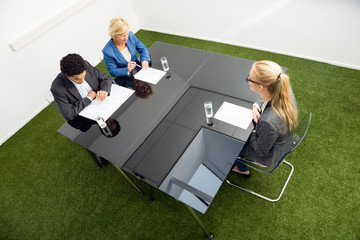 Environmentalists Sitting At Desk In Office