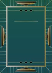 Gold Frame Art Deco Background