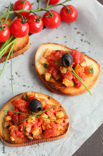 bruschetta tomatoes,zucchini and onions