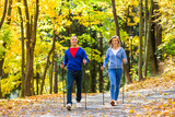 Fototapety Nordic walking - active people working out outdoor