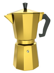 Gold italian coffee maker, 3D render.