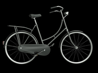 Black bicycle on a black background, 3D render.