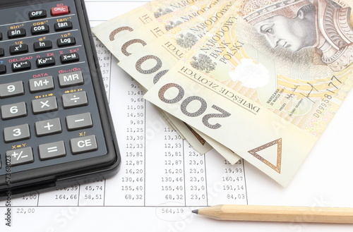Money, pencil and calculator lying on spreadsheet