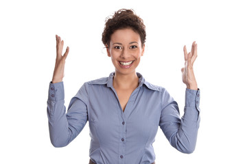 Glückliche junge Frau jubelt und freut sich - isoliert mit Bluse