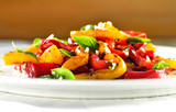 Plate of grilled vegetables salad, sweet peppers