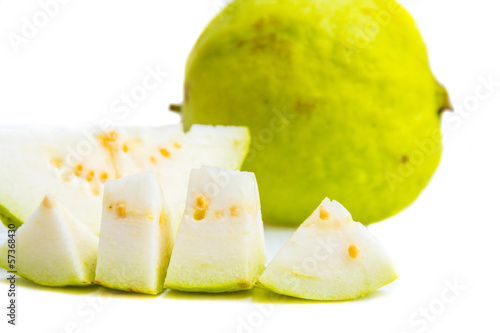 Guava and banana on a white background.