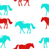 Horses seamless pattern. Vector Illustration, eps10