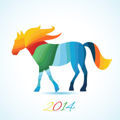 Year of the horse. Christmas and New Year card.