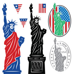 Statue Of Liberty and flags