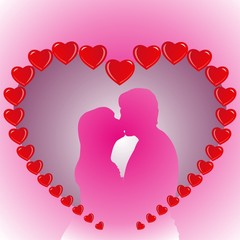 Heart wedding couple in pink