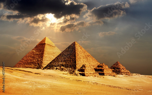 Foto op Aluminium Temple giza pyramids, cairo, egypt