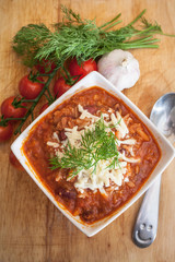 Hot and spicy fresh made Mexican chili soup