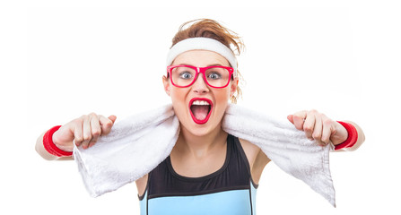 Surprised funny fitness woman ready for gym