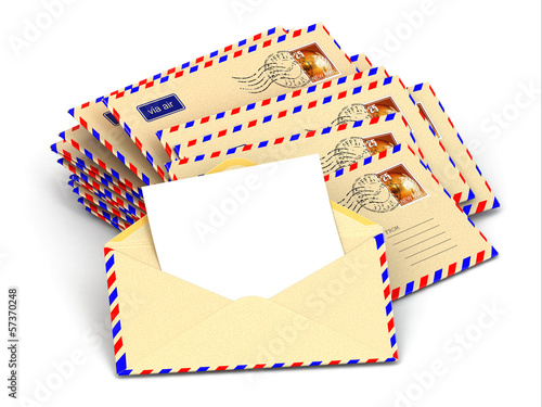 Mail. Stack of envelopes and empty letters.