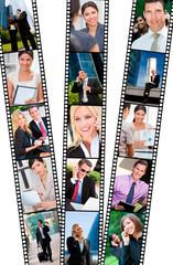 Filmstrip Successful City Business Men & Women