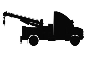 silhouette of heavy duty tow truck