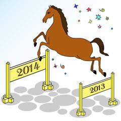 Festive horse jumping
