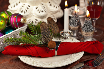Weihnachtlich gedeckter Tisch mit Tannenzapfen