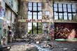 canvas print picture - Ruine *** Graffiti - Fensterfront