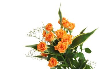 オレンジ色のバラの花束