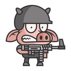 Pig soldier holding machine gun