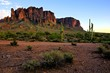 Superstition Mountains and the Arizona desert at dusk