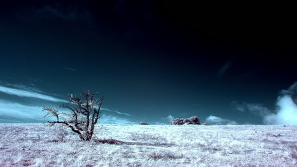 InfraRed landscape: Movement of the clouds on the mountain. Crim