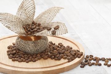 Coffee grains in a canvas bag