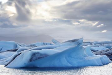 Melting icebergs at Jokulsarlon lagoon iceland