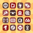 color cinema icons set