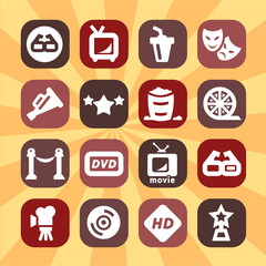 color cinema icons set