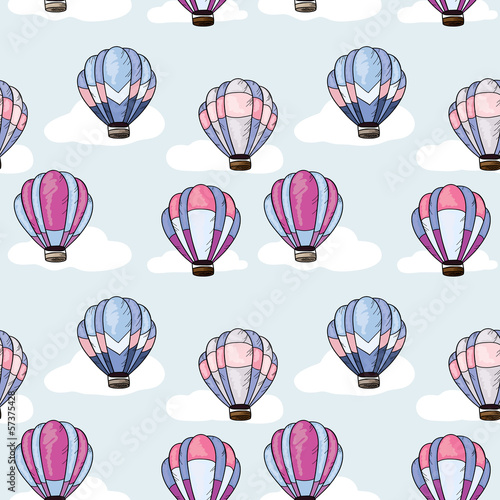 Seamless pattern with hot air balloons