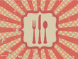 Grunge vintage menu background with rays, frame and cutlery