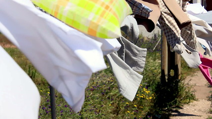 Clothes on drying line