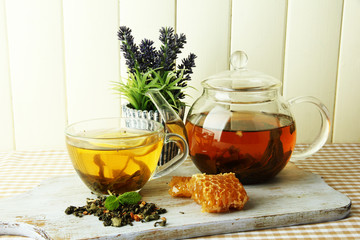 Cup and teapot of green tea with honey