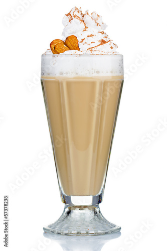 Coffee cocktail with cream and almonds isolated on white