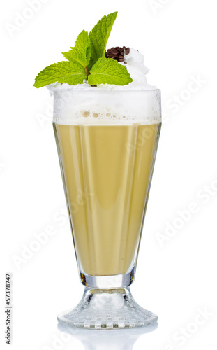 Coffee cocktail with cream and fresh mint isolated on white