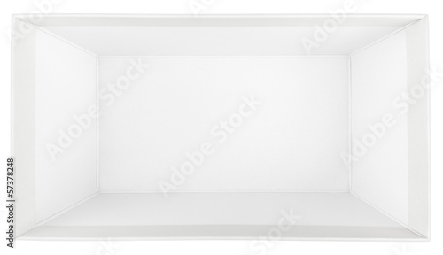 Top view of empty shoe box isolated on white with clipping path