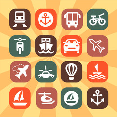 color transportation icons