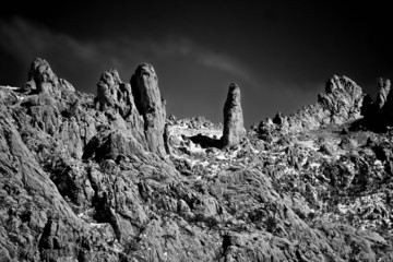 Stone planet surface black and white