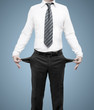 businessman with pockets turned inside out