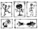 Horror cartoon silhouettes.