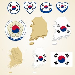 South Korea Map, Vector 3D pack of South Korea and flag